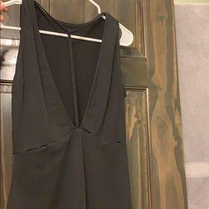Black Deep V Bodysuit